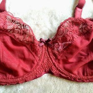 curvy kate Intimates & Sleepwear - Curvy Kate Ellace Balcony Bra 36E Crimson Red